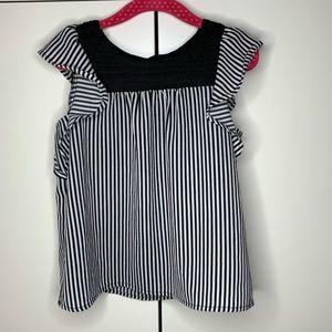 Monteau Girls Striped Lace Flutter Sleeve Top